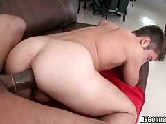 Watch massive fat black cock penetrating tight white ass.
